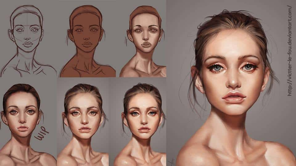 """Another Beautiful Face"" by Victter le Fou (Process Picture)"
