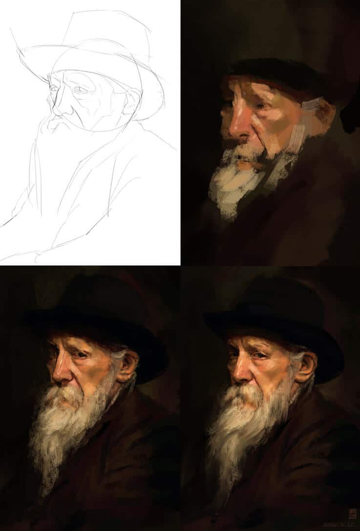 """Portrait Study II"" by Ryan Mugan (Process Picture)"