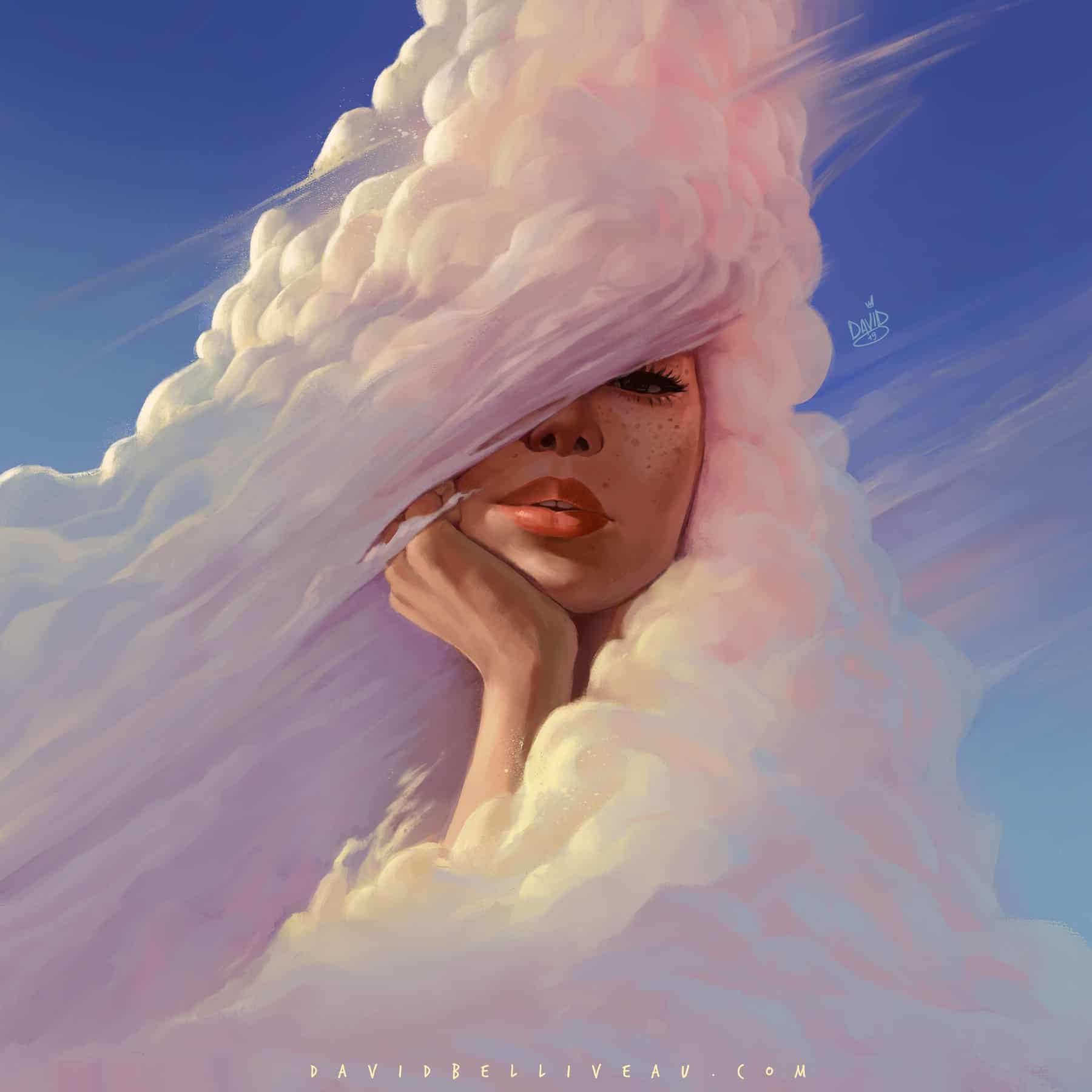 Digital Painting clouds portrait david belliveau