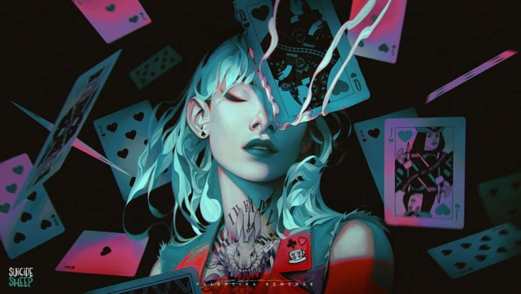 Alice in wonderland and the Playing cards by Valentina Remenar